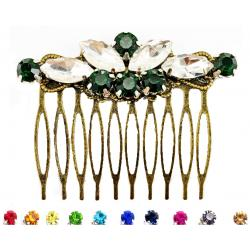 Emerald Rhinestone Bronze Hair Comb