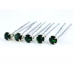 Emerald Rhinestone Hair Pins