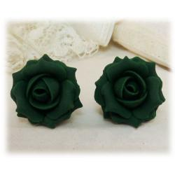 Green Emerald Rose Stud Earrings