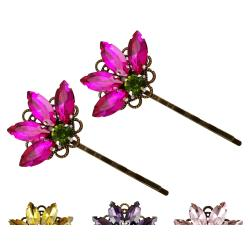 Fan Shaped Vintage Style Rhinestone Hair Pins