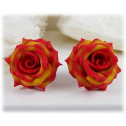 Fire-tipped Rose Earring Studs