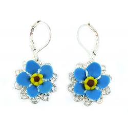 Forget Me Not Filigree Dangle Earrings