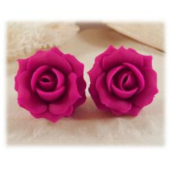 Fuchsia Pink Rose Stud Earrings
