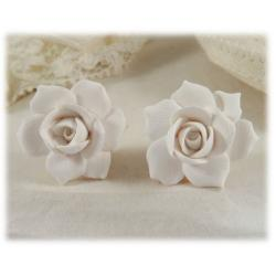 White Gardenia Stud Earrings
