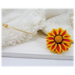 Red Stripe Gazania Stick Pin or Brooch Pin
