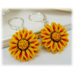 Red Stripe Gazania Drop Earrings