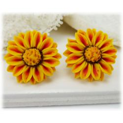 Red Stripe Gazania Stud Earrings