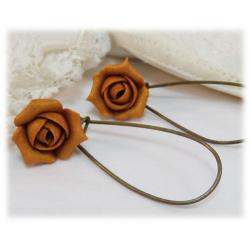 Metallic Gold Rosebud Drop Earrings
