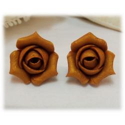 Metallic Gold Rosebud Stud Earrings