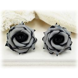 Black Tipped Gray Rose Stud Earrings