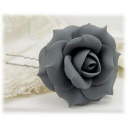 Gray Rose Hair Pins