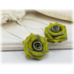 Gray Yellow Rose Drop Earrings