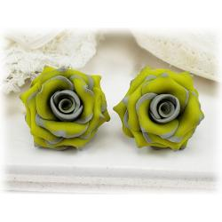 Gray Yellow Rose Earrings stud