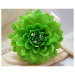 Large Green Chrysanthemum Brooch Pin