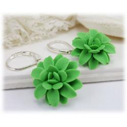 Green Dahlia Flower Earrings