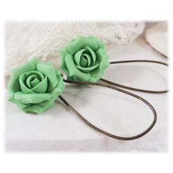 Green Peridot Rose Drop Earrings
