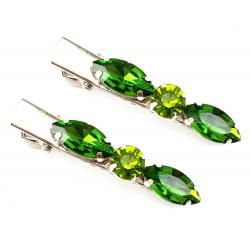 Green Rhinestone Hair Clips