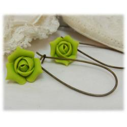 Green Rosebud Drop Earrings