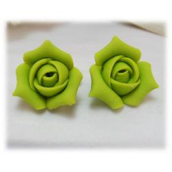 Green Rosebud Stud Earrings