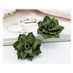 Green Succulent Drop Earrings