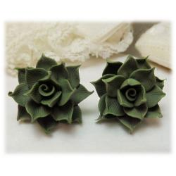 Green Succulent Stud Earrings