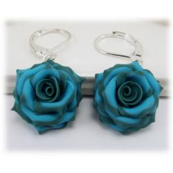 Teal Turquoise Rose Earrings