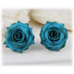 Green-tipped Rose Earring Studs