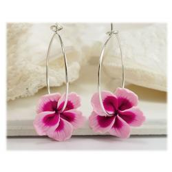 Hibiscus Hoop Earrings