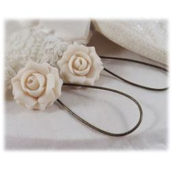Ivory Rose Drop Earrings