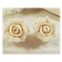 Ivory Rose Stud Earrings