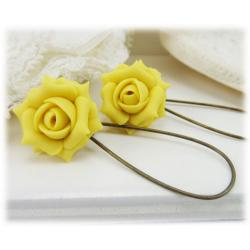 Yellow Jonquil Rose Drop Earrings