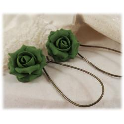 Green Khaki Rose Drop Earrings