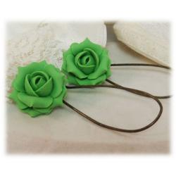 Green Kelly Rose Drop Earrings