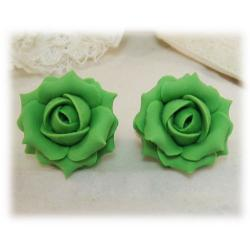 Green Kelly Rose Stud Earrings