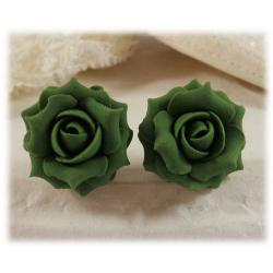 Green Khaki Rose Stud Earrings