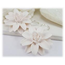 Large White Dahlia Earrings