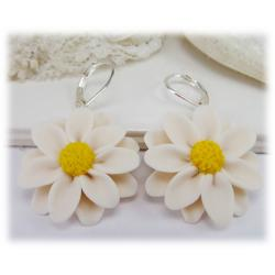 Large White Daisy Earrings
