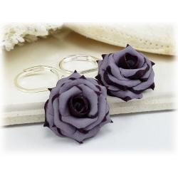 Plum Tipped Lavender Rose Drop Earrings