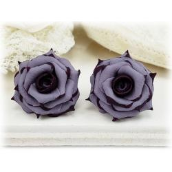 Plum Tipped Lavender Rose Stud Earrings