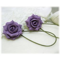 Purple Lavender Rose Drop Earrings