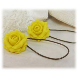 Yellow Lemon Rose Drop Earrings