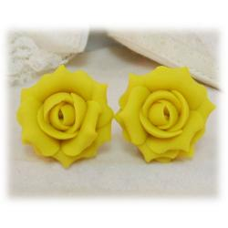 Yellow Lemon Rose Stud Earrings
