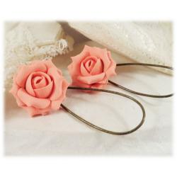 Light Coral Rose Drop Earrings