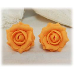 Orange Light Rose Stud Earrings