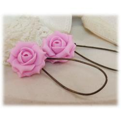 Pink Light Rose Drop Earrings
