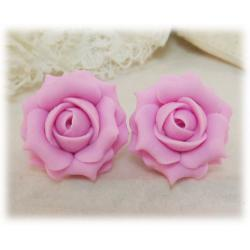 Pink Light Rose Stud Earrings