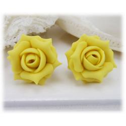 Yellow Jonquil Rose Stud Earrings