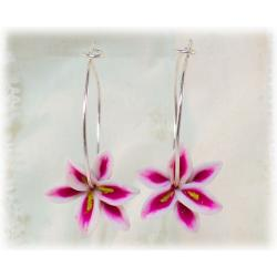 Stargazer Lily Hoop Earrings