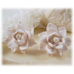 White Lotus Pearl Stud Earrings