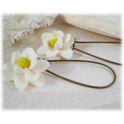 White Magnolia Drop Earrings